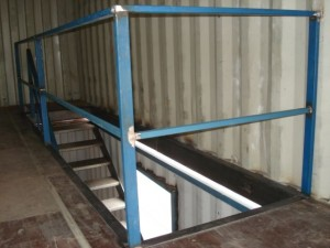 Three story internal stairs in shipping containers by Containers First DSC01781